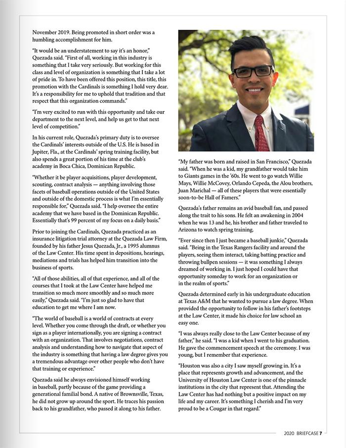 Joseph Quezada - Article by University of Houston Law Center Alumni